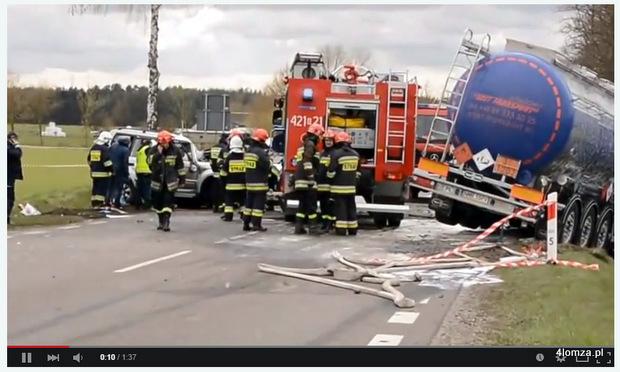 Foto: Śmiertelny wypadek na trasie Łomża - Grajewo