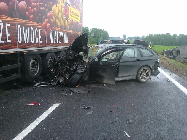 Foto: Po wypadku zablokowana 61. za Stawiskami