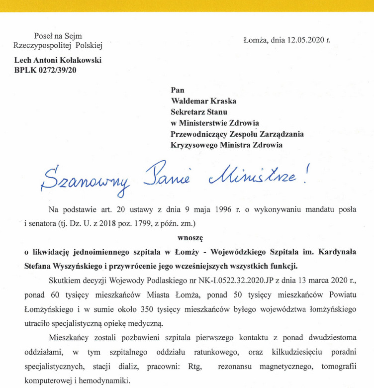 Foto: Poseł Kołakowski: wnoszę o likwidację jednoimiennego szpitala w Łomży